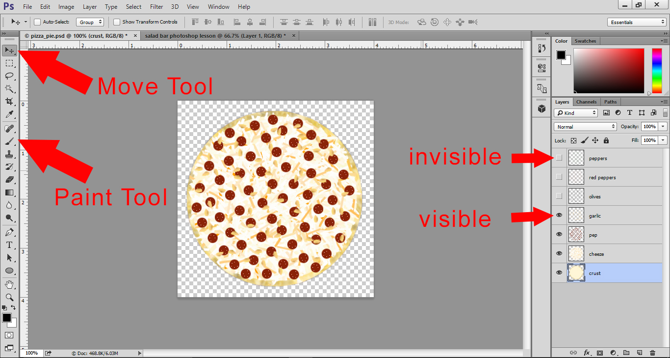 Photoshop Lesson - Tool Bar and Layer Palette with Pizza Pie file open