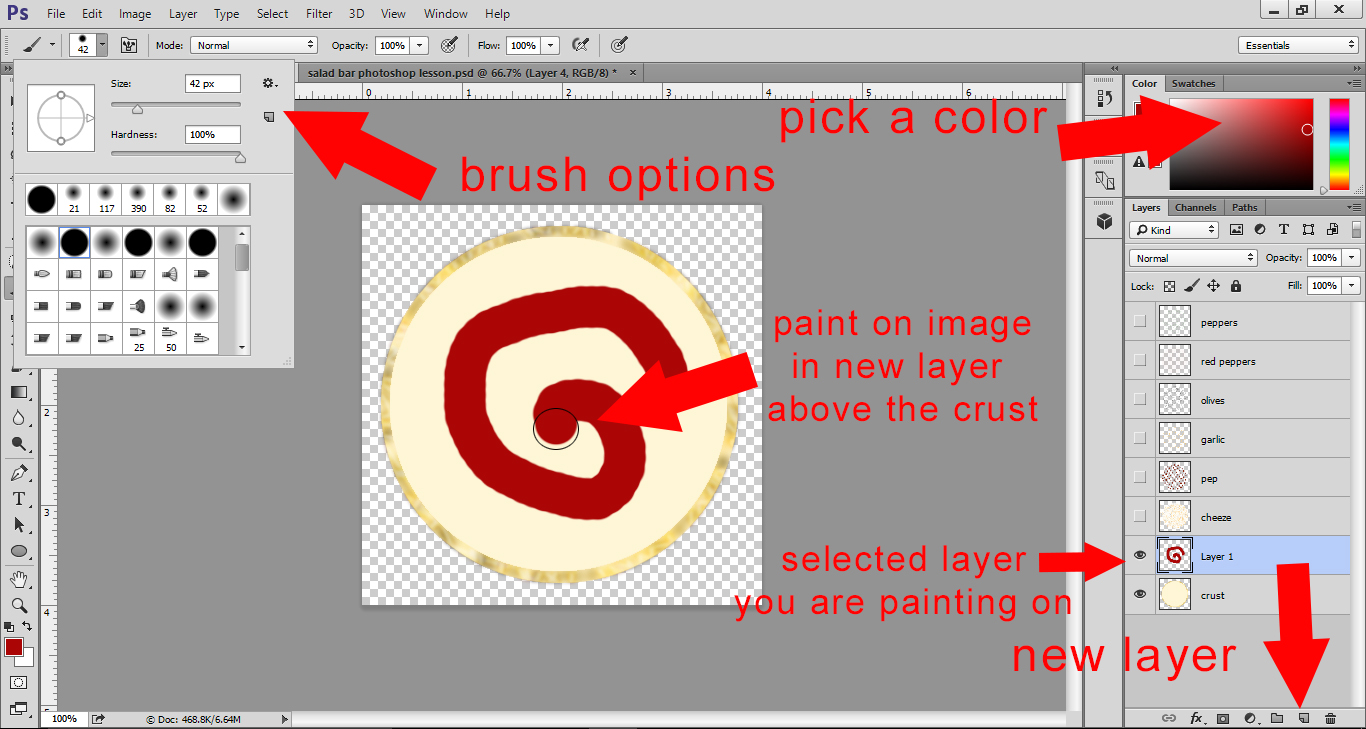 Photoshop Lesson - Painting sauce on pizza crust