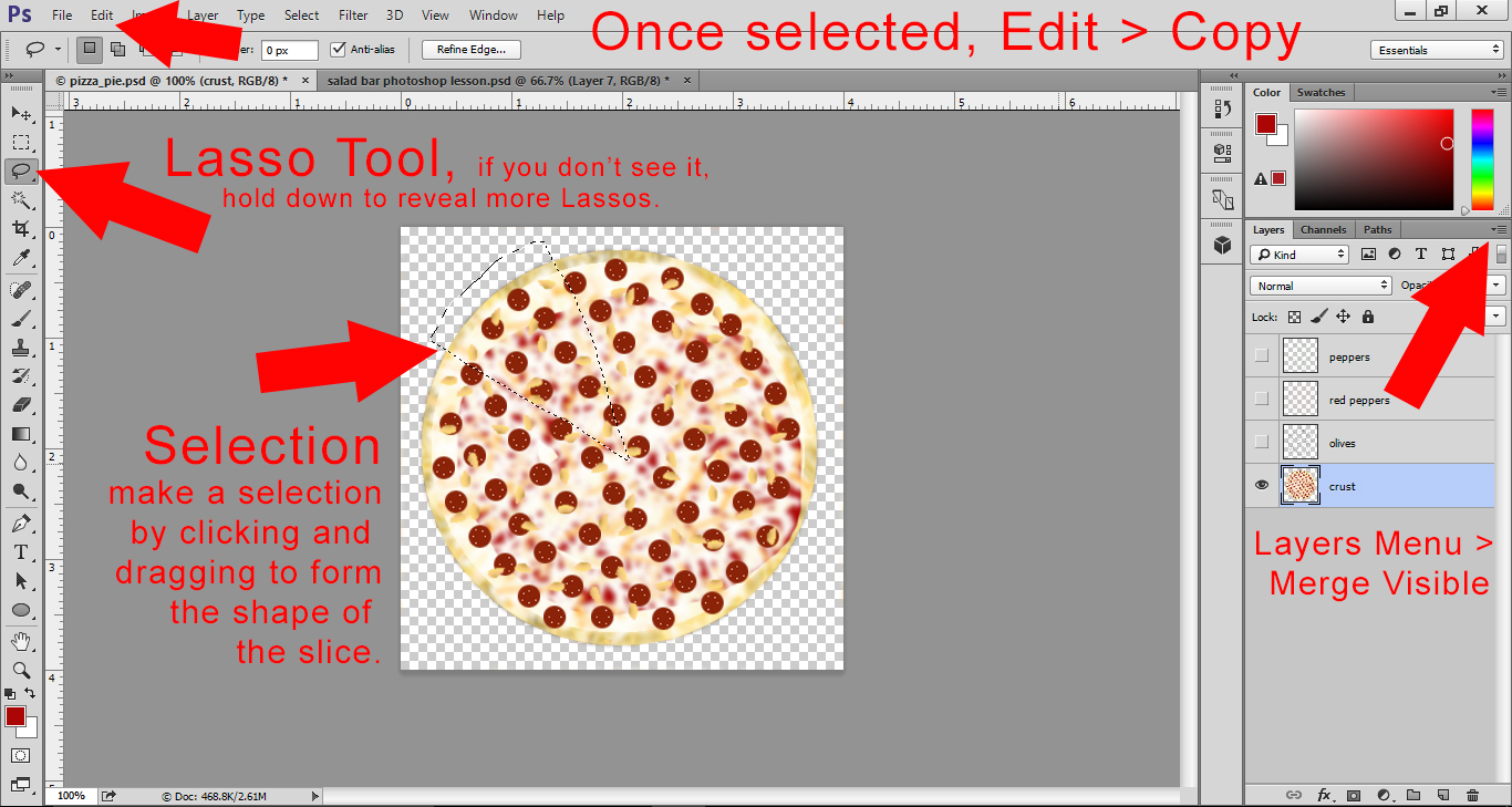 Photoshop Lesson - add toppings to the pizza by making layers visable ang select a slice of pizza with the lasso tool. Copy slice.