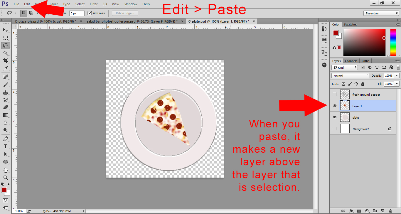 Photoshop Lesson - Open Plate file and paste pizza slice on plate