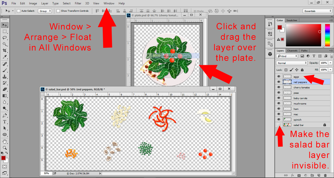 Photoshop Lesson - Float All Windows to see the Plate file and Salad Bar file. Drag salad layers overto the plate.