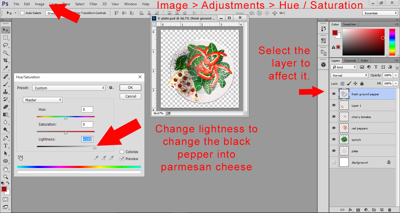 Photoshop Lesson - Change your fresh black pepper on the Plate file to parmesan cheese using hue and saturation.